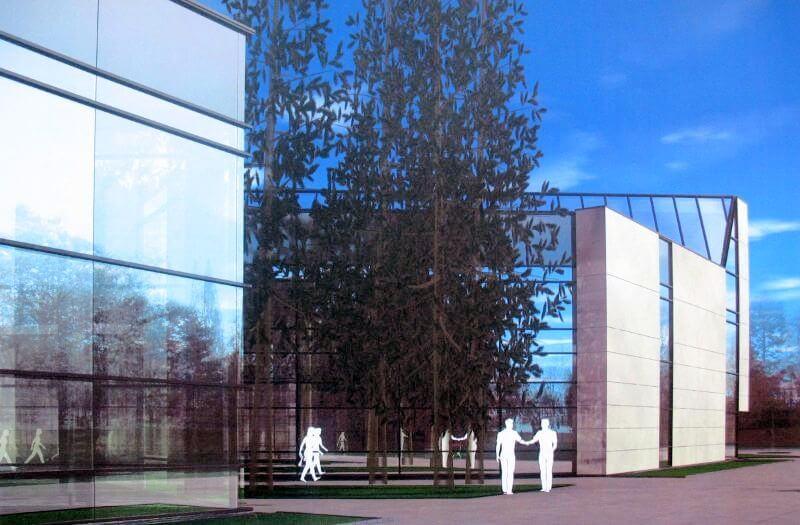 Kretingos rajono savivaldybės M. Valančiaus viešoji biblioteka. Vaizdas nuo Kretingos rajono kultūros centro