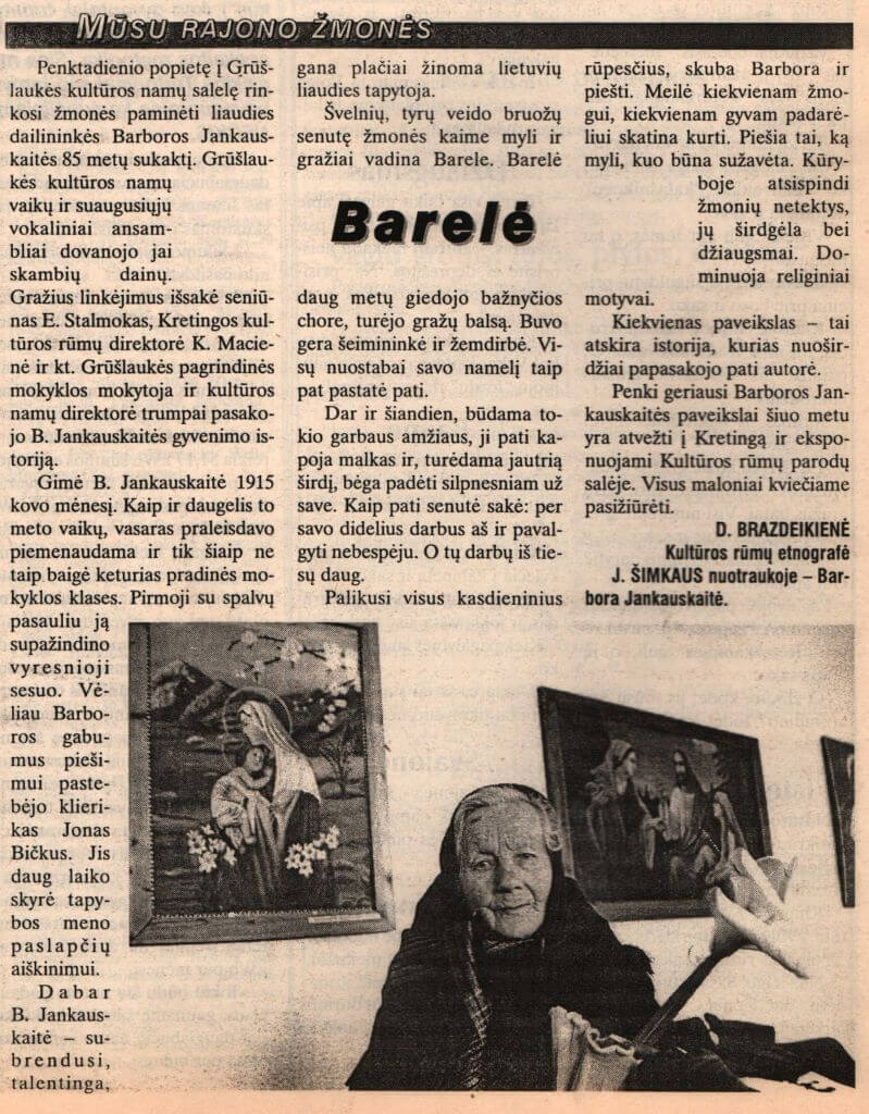 Brazdeikienė, D. Barelė. Iš Švyturys. 2000, kovo 29, p. 5