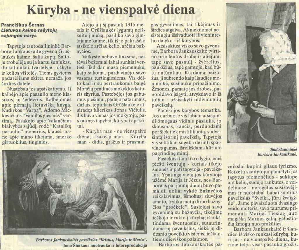 ŠERNAS, Pranciškus. Kūryba – ne vienaspalvė diena. Iš Klaipėda, 1997, bal. 23, p. 10