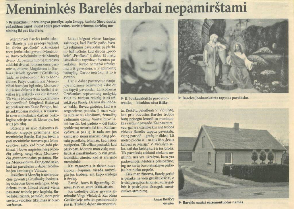 Menininkės Barelės darbai nepamirštami. Iš Pajūrio naujienos, 2014, saus. 10, p. 6