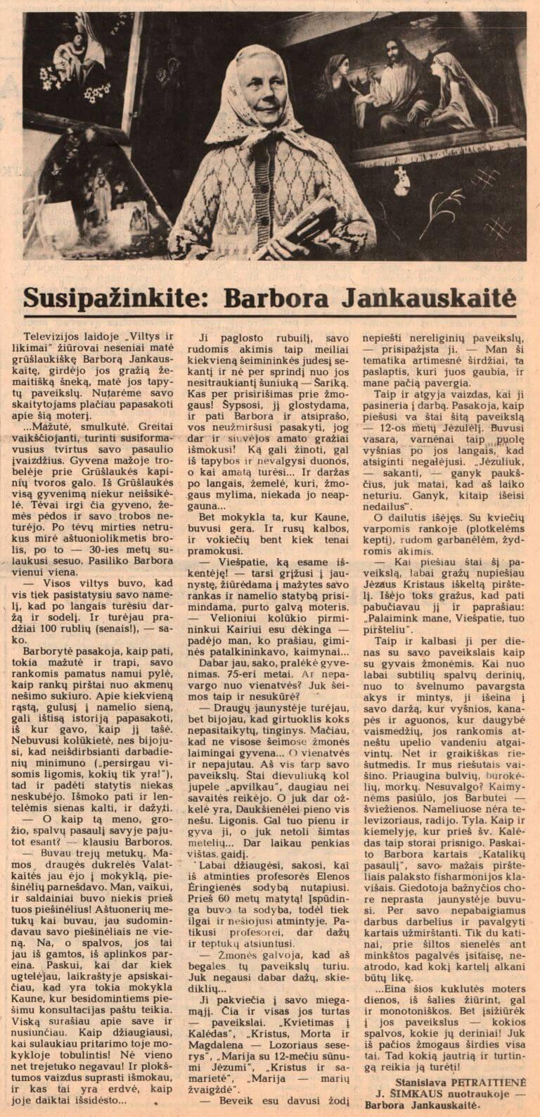 PETRAITIENĖ, Stanislava. Susipažinkite: Barbora Jankauskaitė. Iš Švyturys. 1991, saus. 5, p. 3