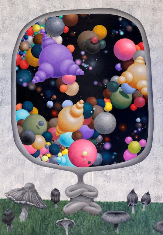 Andrius Miežis. Alter ego meditacija grybų pievelėje (Alter ego meditation on a mushroom lawn) 90x130 cm, drobė, akrilas, 2020 m.