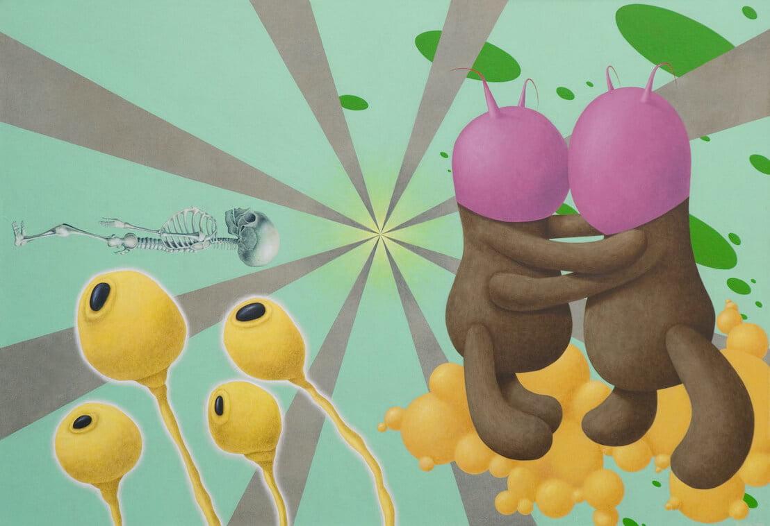Andrius Miežis. Meilė amžina, o visa kita – tik laikinos atomų kombinacijos 90x130 cm, drobė, akrilas, 2012m.