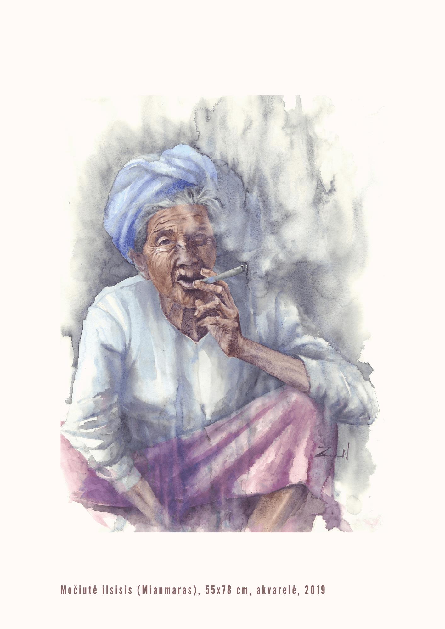 Nijolė Zubienė. Močiutė ilsisi (Mianmaras)