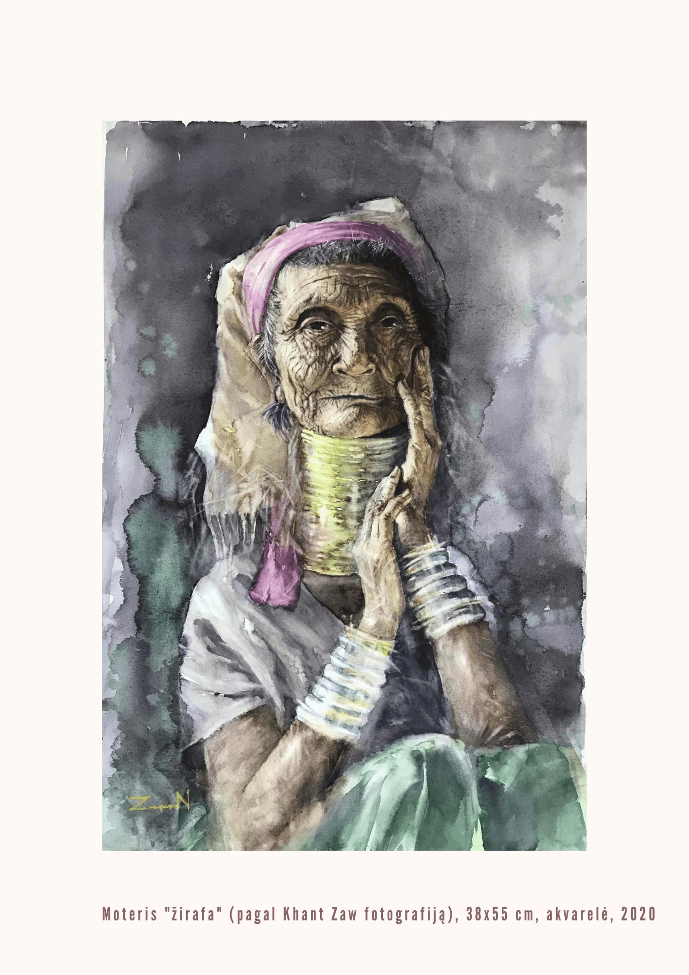 """Nijolė Zubienė. Moteris """"žirafa"""" (pagal Khant Zaw fotografiją)"""