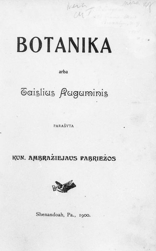 """Jurgio Pabrėžos knygos """"Botanika"""" titulinis lapas"""