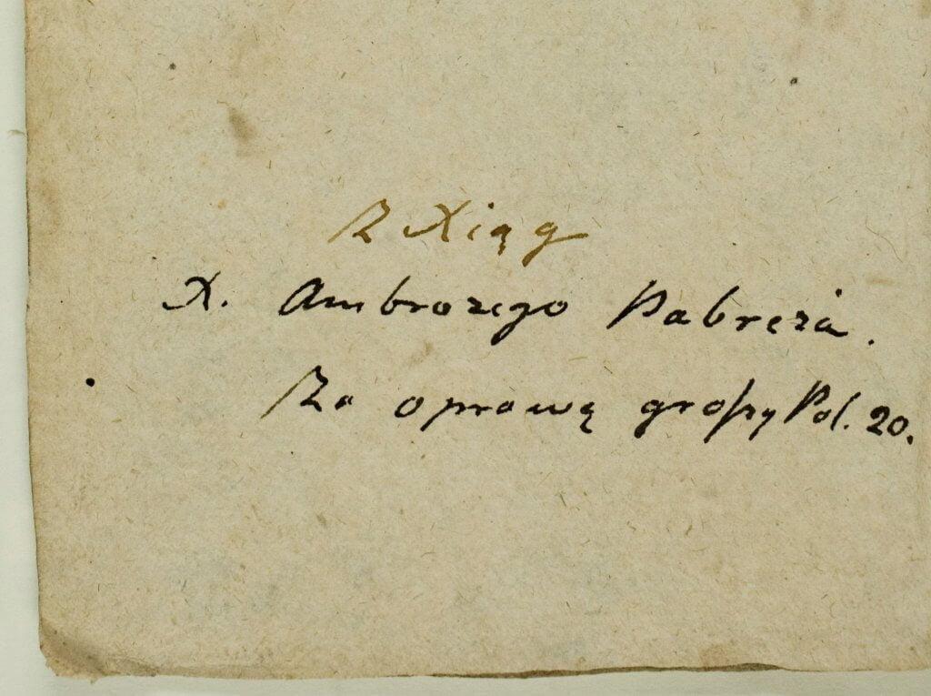 Jurgio Pabrėžos autografas rankraštyje