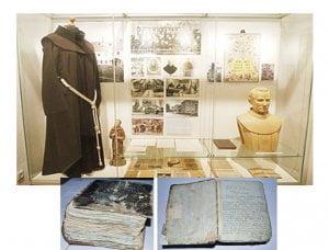 Kretingos pranciškonams ir Jurgiui Pabrėžai skirtas stendas Kretingos muziejuje